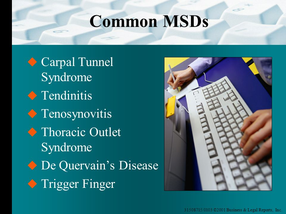 Common MSDs Carpal Tunnel Syndrome Tendinitis Tenosynovitis