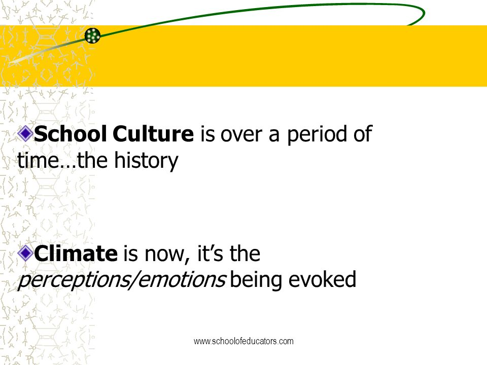 School Culture is over a period of time…the history