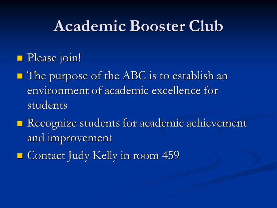 Academic Booster Club Please join!