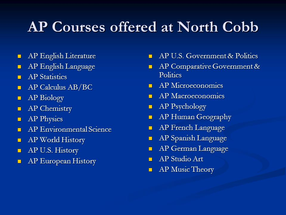 AP Courses offered at North Cobb