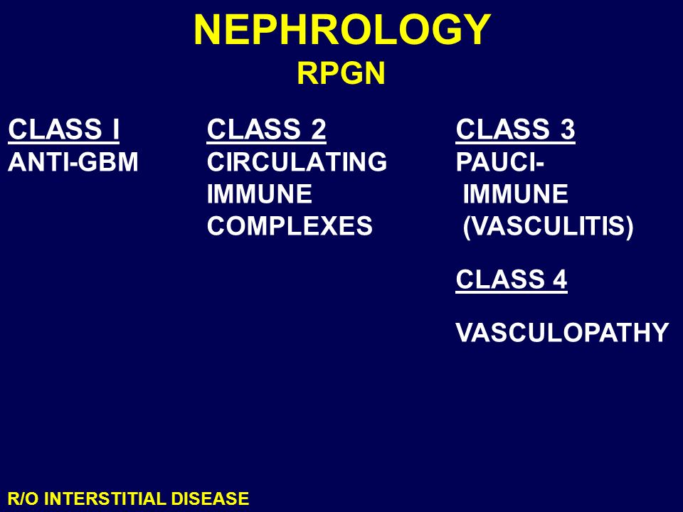 NEPHROLOGY RPGN CLASS I CLASS 2 CLASS 3 ANTI-GBM CIRCULATING IMMUNE
