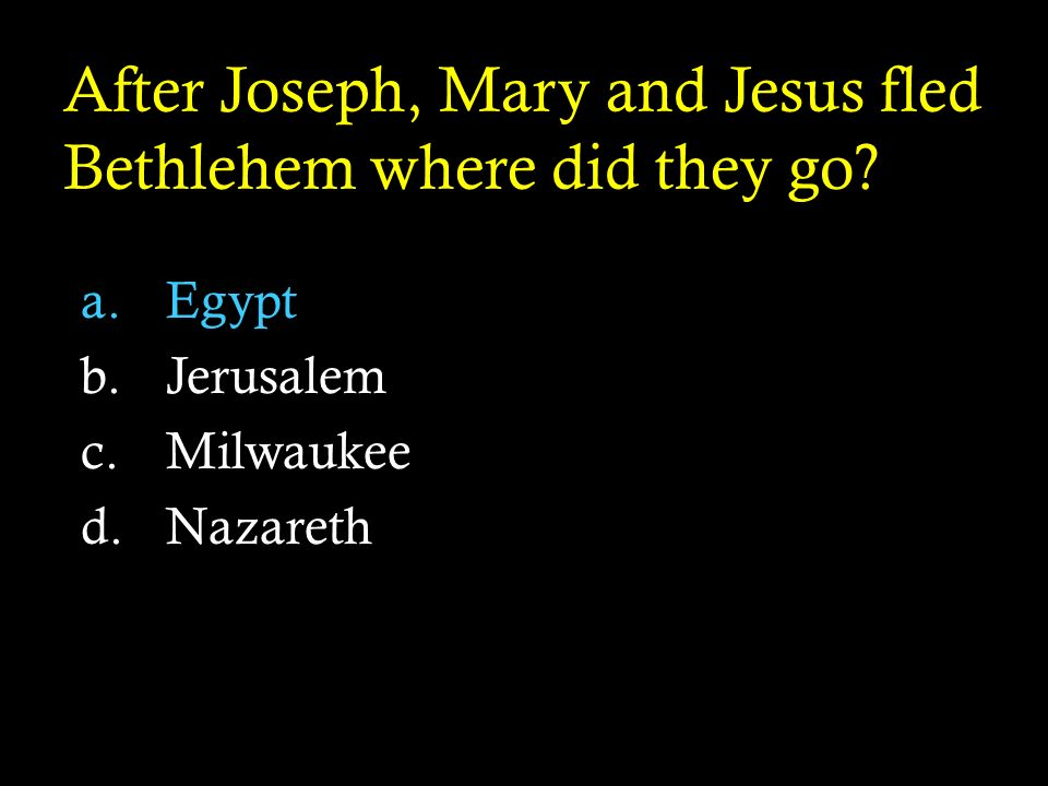 After Joseph, Mary and Jesus fled Bethlehem where did they go