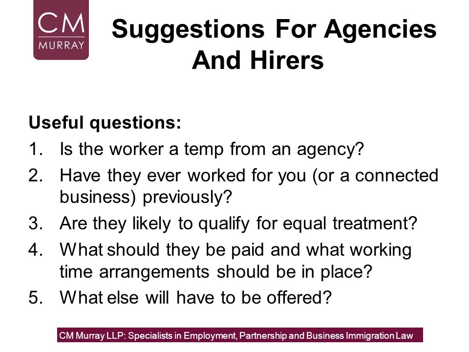 Suggestions For Agencies And Hirers