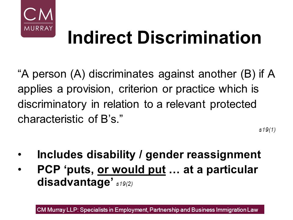 Indirect Discrimination