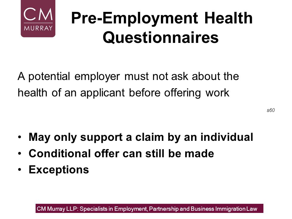 Pre-Employment Health Questionnaires