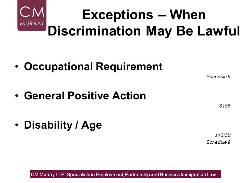 Exceptions – When Discrimination May Be Lawful