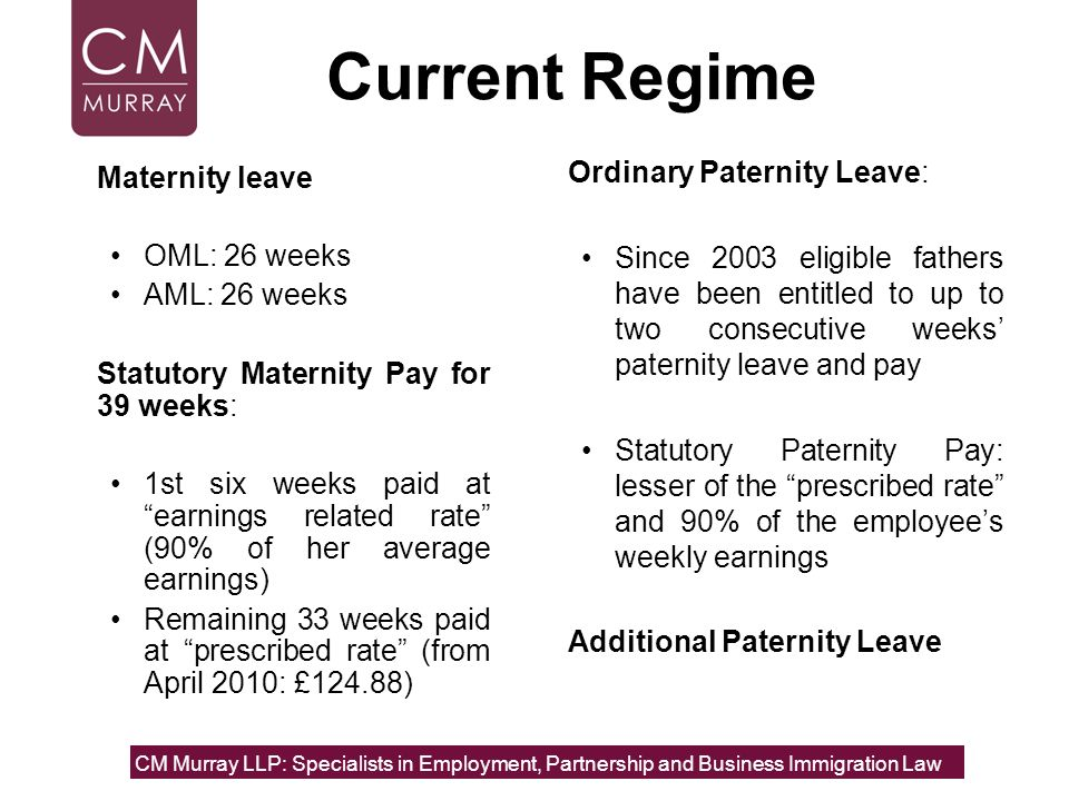 Current Regime Ordinary Paternity Leave: Maternity leave