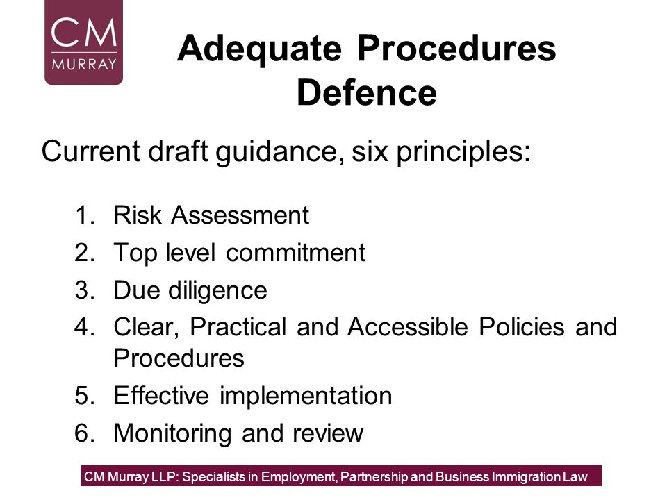 Adequate Procedures Defence