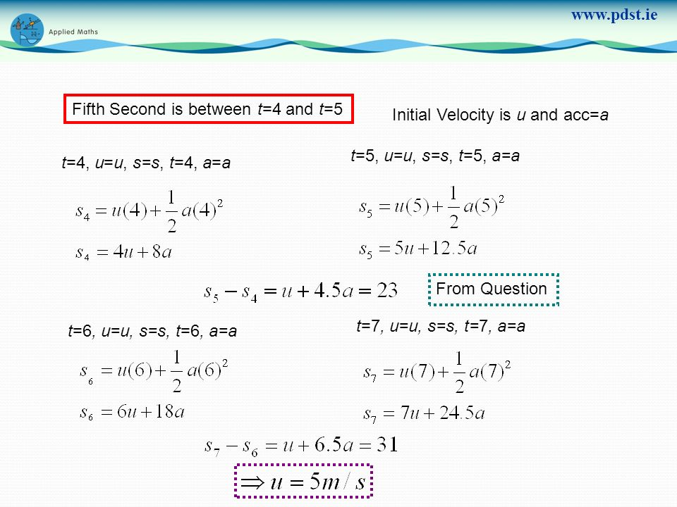 Fifth Second is between t=4 and t=5 Initial Velocity is u and acc=a