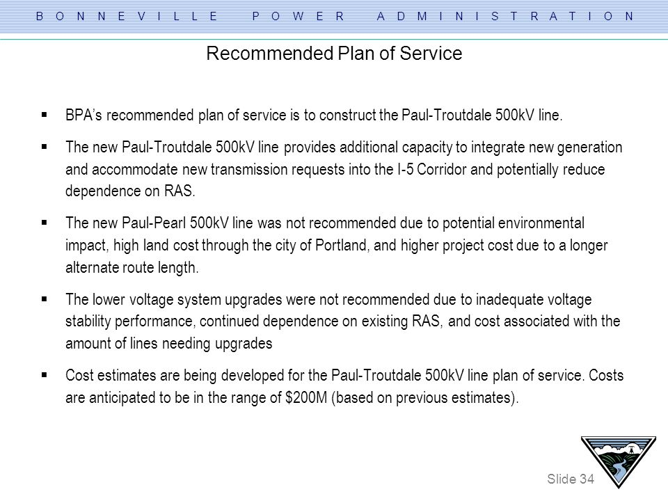 Recommended Plan of Service