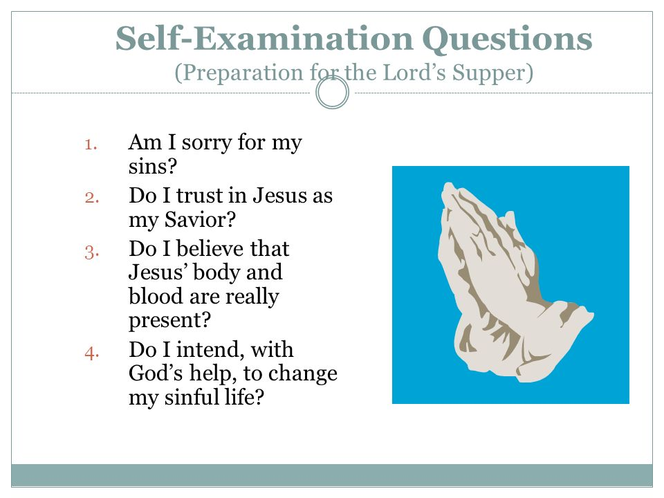 Self-Examination Questions (Preparation for the Lord's Supper)