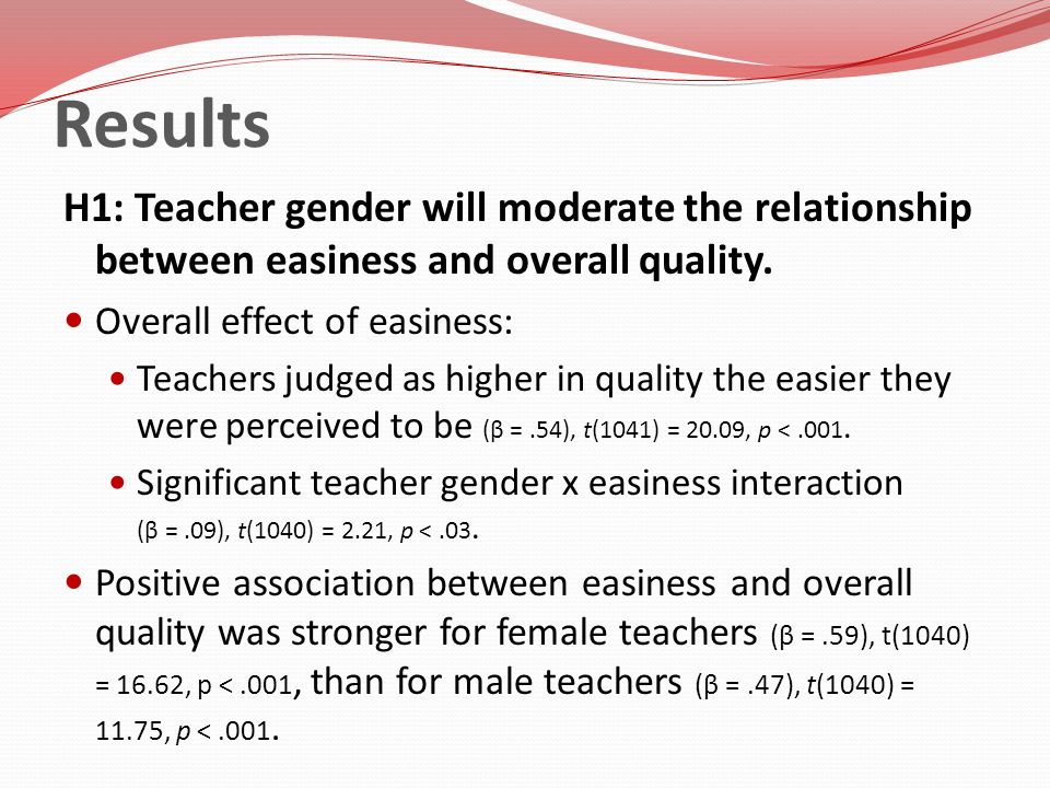 Results H1: Teacher gender will moderate the relationship between easiness and overall quality. Overall effect of easiness: