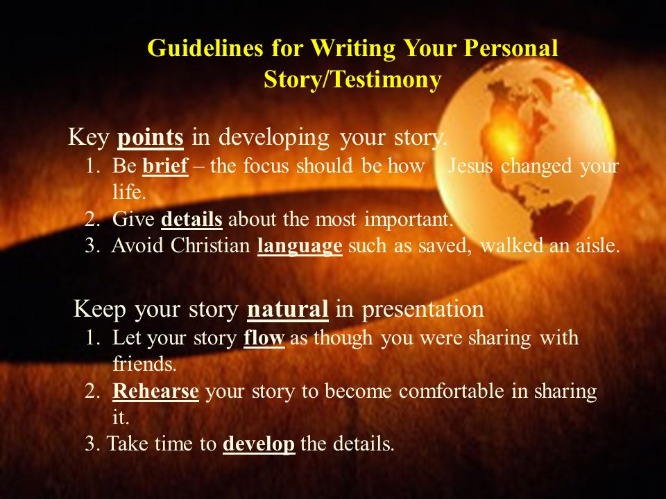 Guidelines for Writing Your Personal Story/Testimony