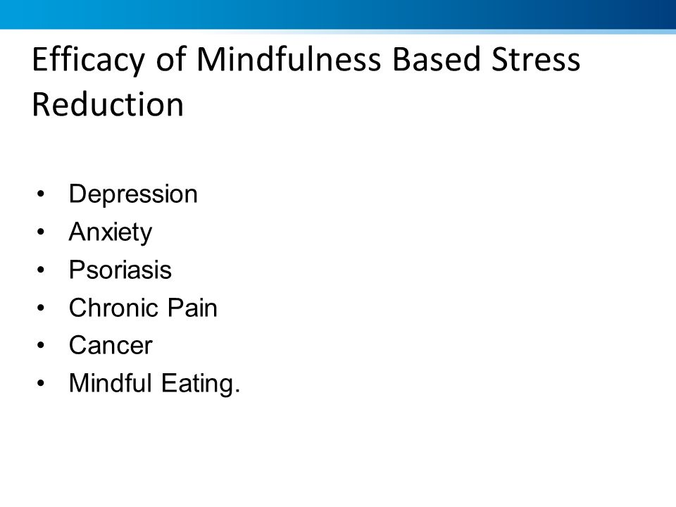Efficacy of Mindfulness Based Stress Reduction