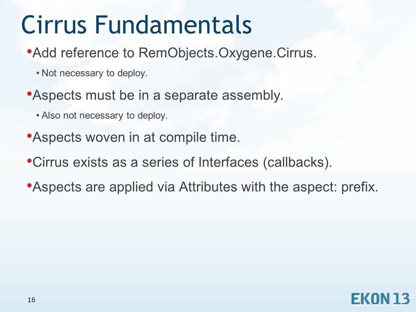 Cirrus Fundamentals Add reference to RemObjects.Oxygene.Cirrus.