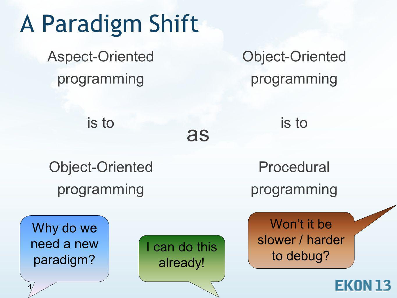 A Paradigm Shift Aspect-Oriented programming is to Object-Oriented programming.