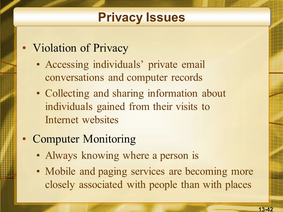 Privacy Issues Violation of Privacy Computer Monitoring