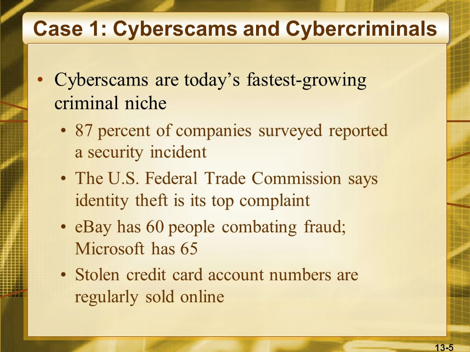 Case 1: Cyberscams and Cybercriminals