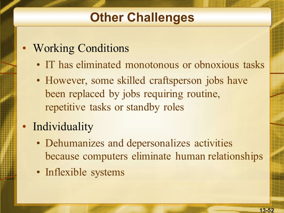 Other Challenges Working Conditions Individuality