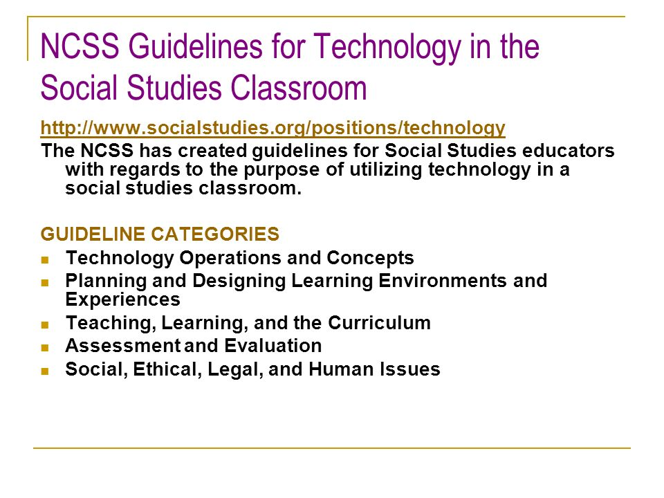 NCSS Guidelines for Technology in the Social Studies Classroom