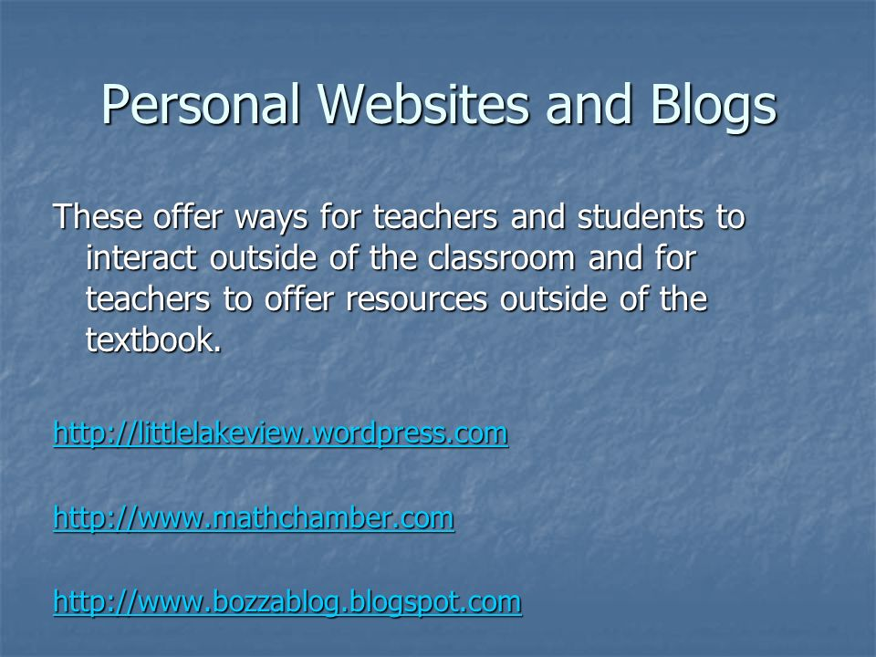 Personal Websites and Blogs