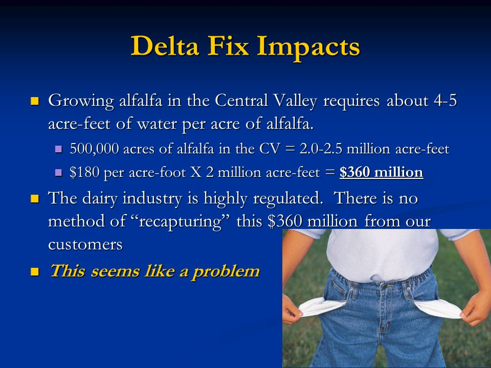 Delta Fix Impacts Growing alfalfa in the Central Valley requires about 4-5 acre-feet of water per acre of alfalfa.