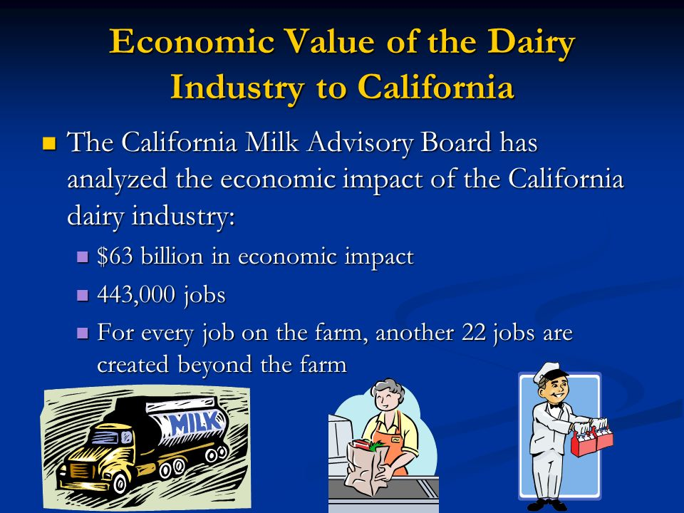 Economic Value of the Dairy Industry to California