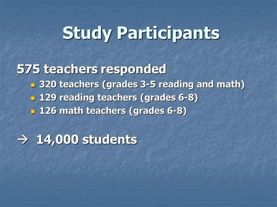 Study Participants 575 teachers responded  14,000 students