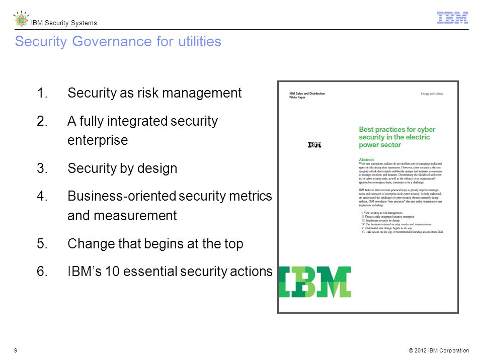 Security Governance for utilities