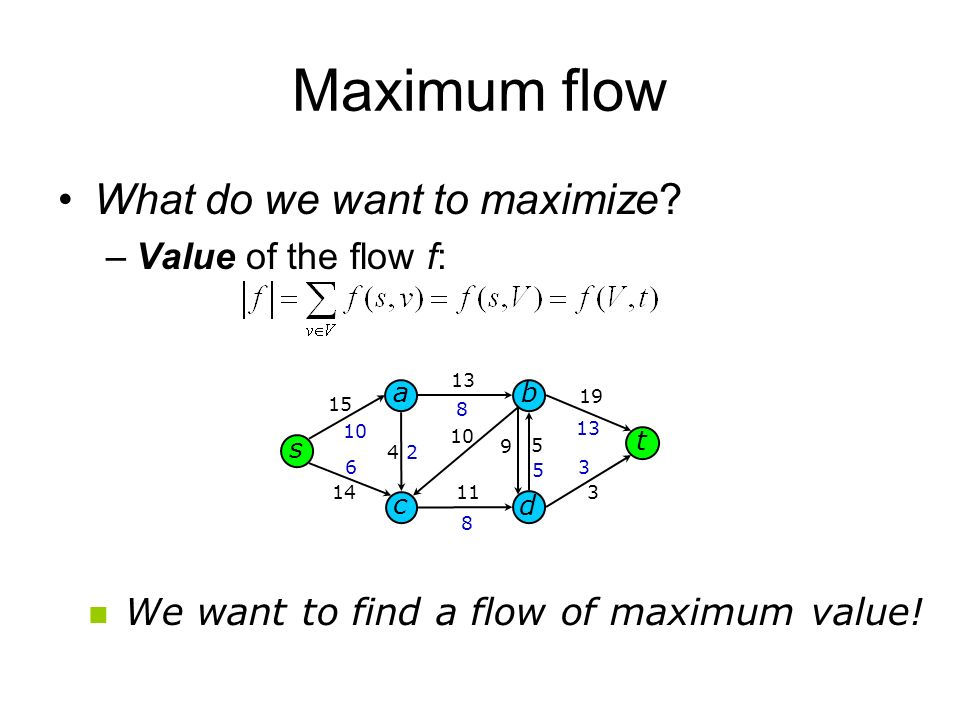 Maximum flow What do we want to maximize Value of the flow f: