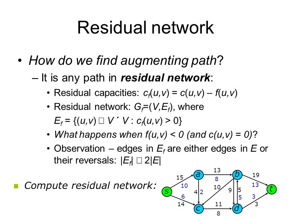 Residual network How do we find augmenting path