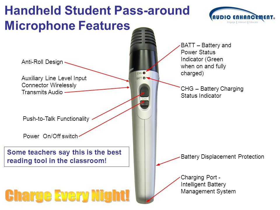 Charge Every Night! Handheld Student Pass-around Microphone Features