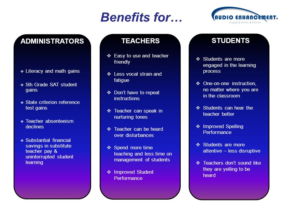 Benefits for… ADMINISTRATORS TEACHERS STUDENTS