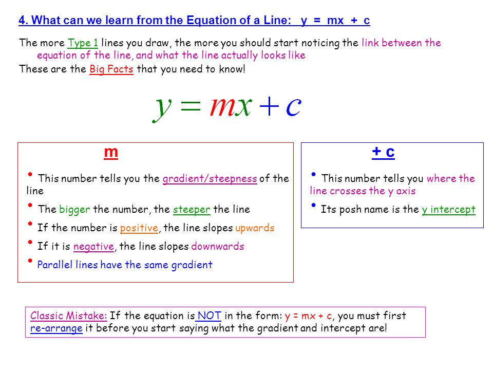 m + c 4. What can we learn from the Equation of a Line: y = mx + c