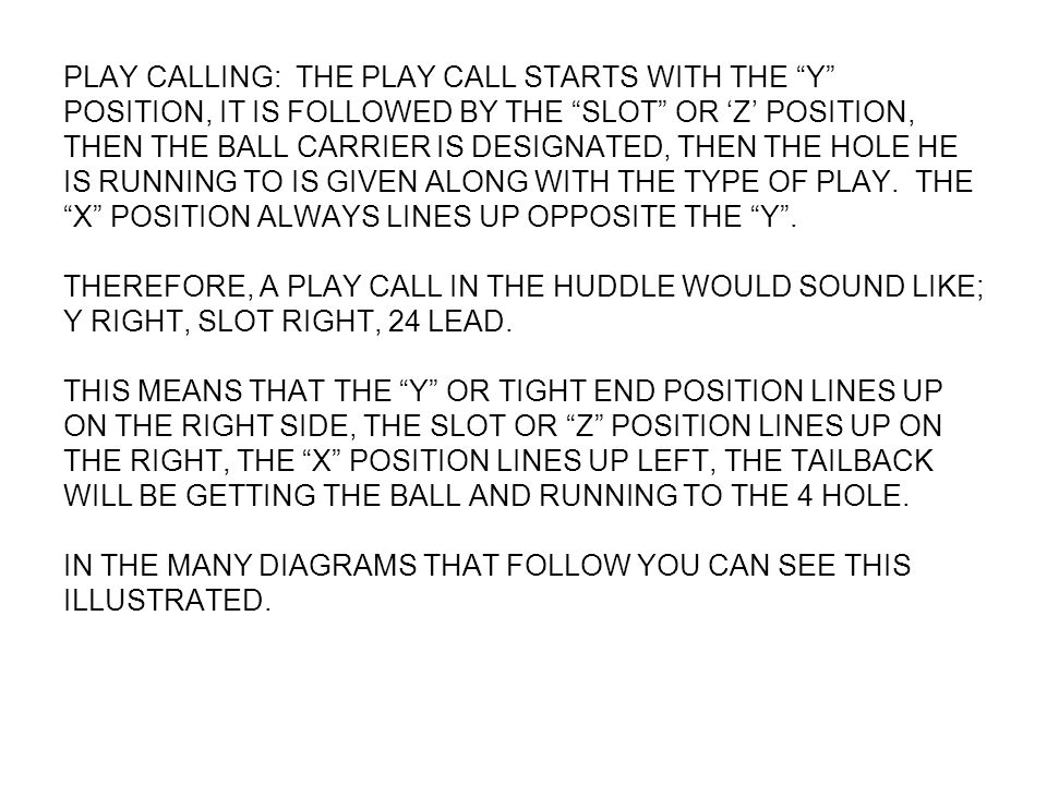 PLAY CALLING: THE PLAY CALL STARTS WITH THE Y POSITION, IT IS FOLLOWED BY THE SLOT OR 'Z' POSITION, THEN THE BALL CARRIER IS DESIGNATED, THEN THE HOLE HE IS RUNNING TO IS GIVEN ALONG WITH THE TYPE OF PLAY.