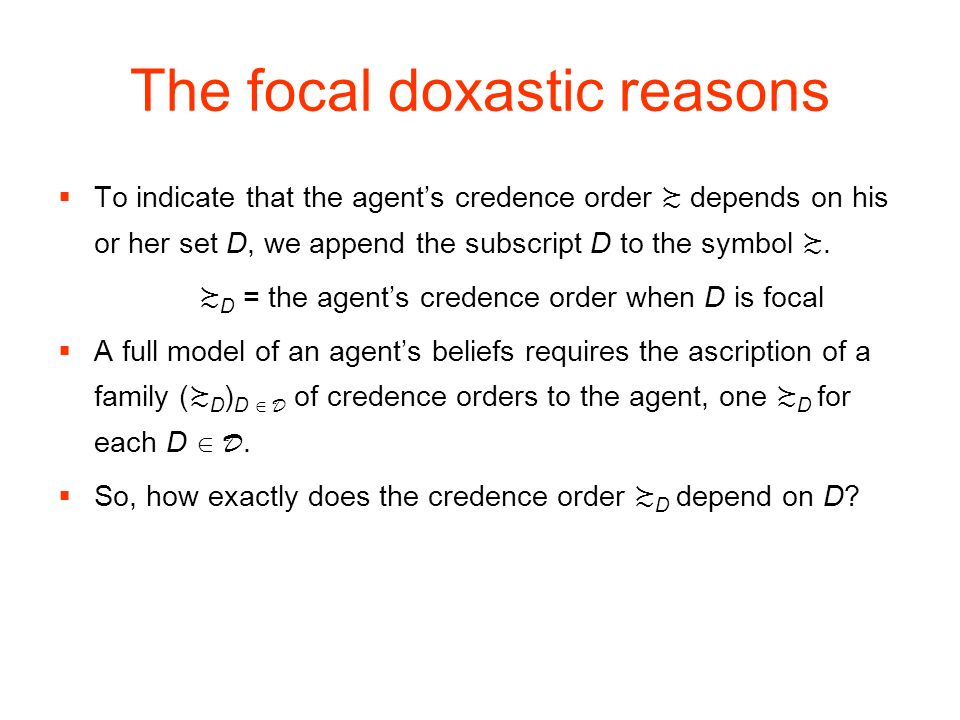 The focal doxastic reasons