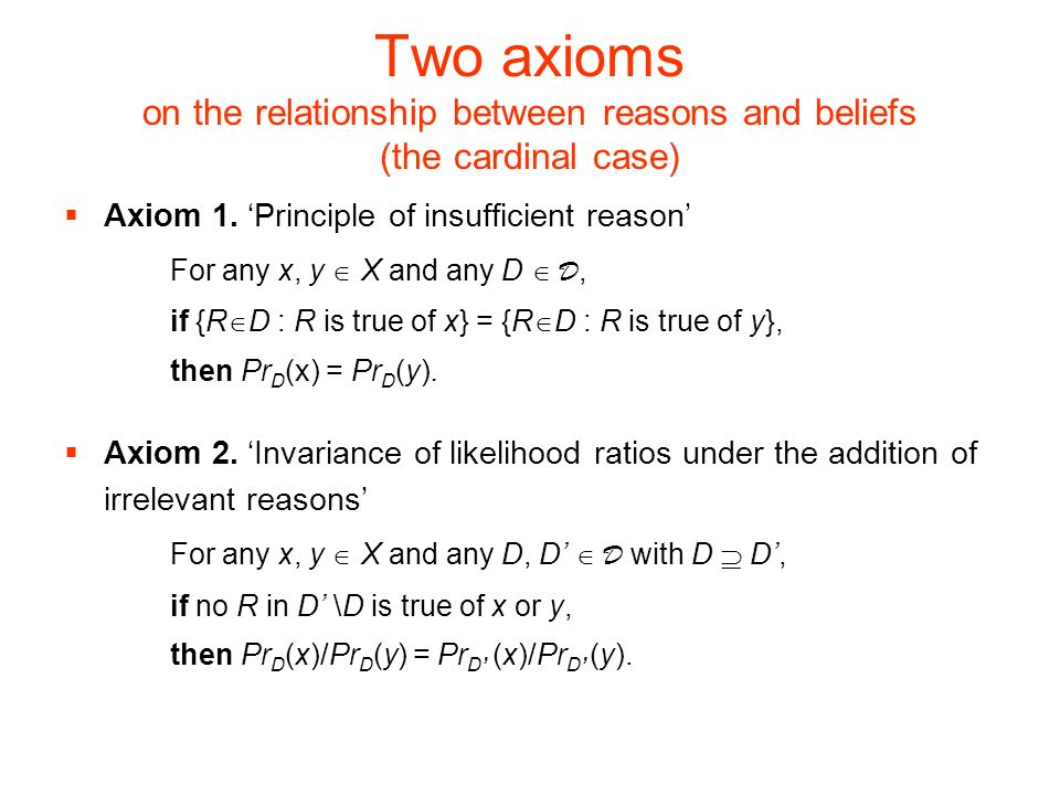 Two axioms on the relationship between reasons and beliefs (the cardinal case)