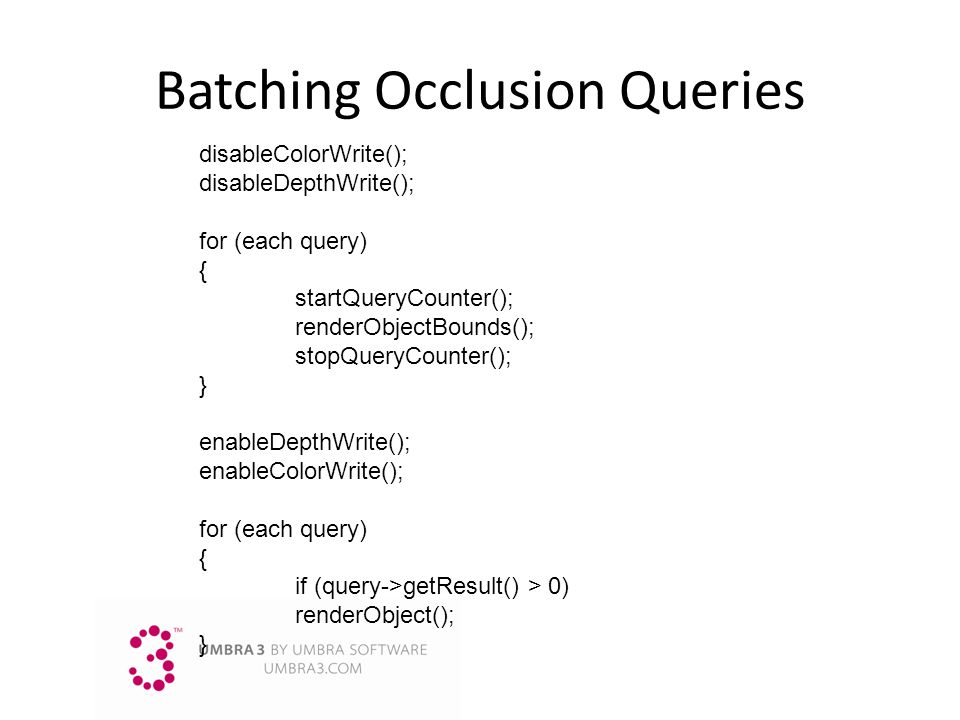Batching Occlusion Queries