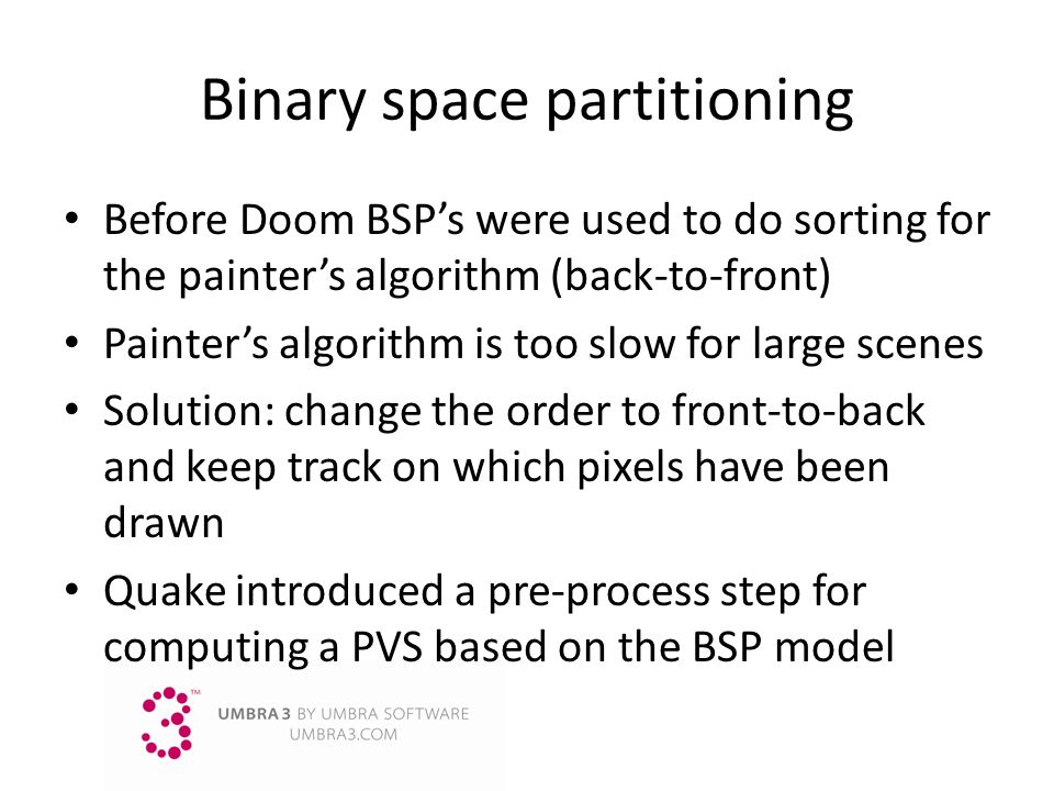 Binary space partitioning