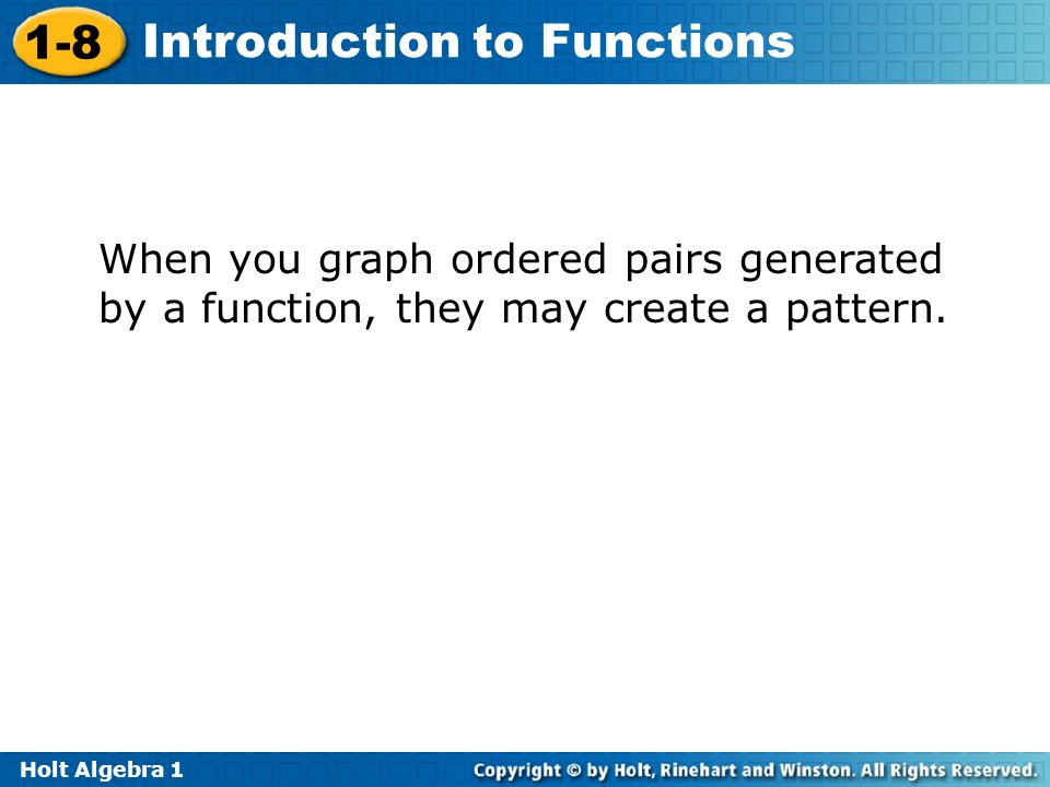 When you graph ordered pairs generated by a function, they may create a pattern.