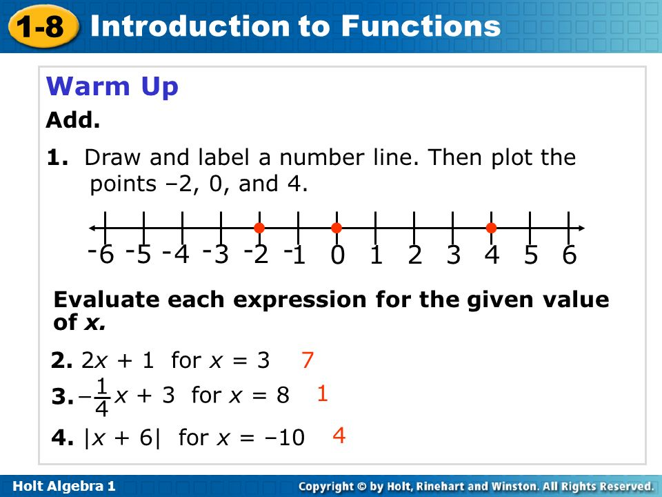 Warm Up Add. 1. Draw and label a number line. Then plot the points –2, 0, and 4. 2. 1. 3. 4. 5.
