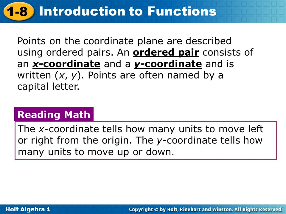 Points on the coordinate plane are described using ordered pairs