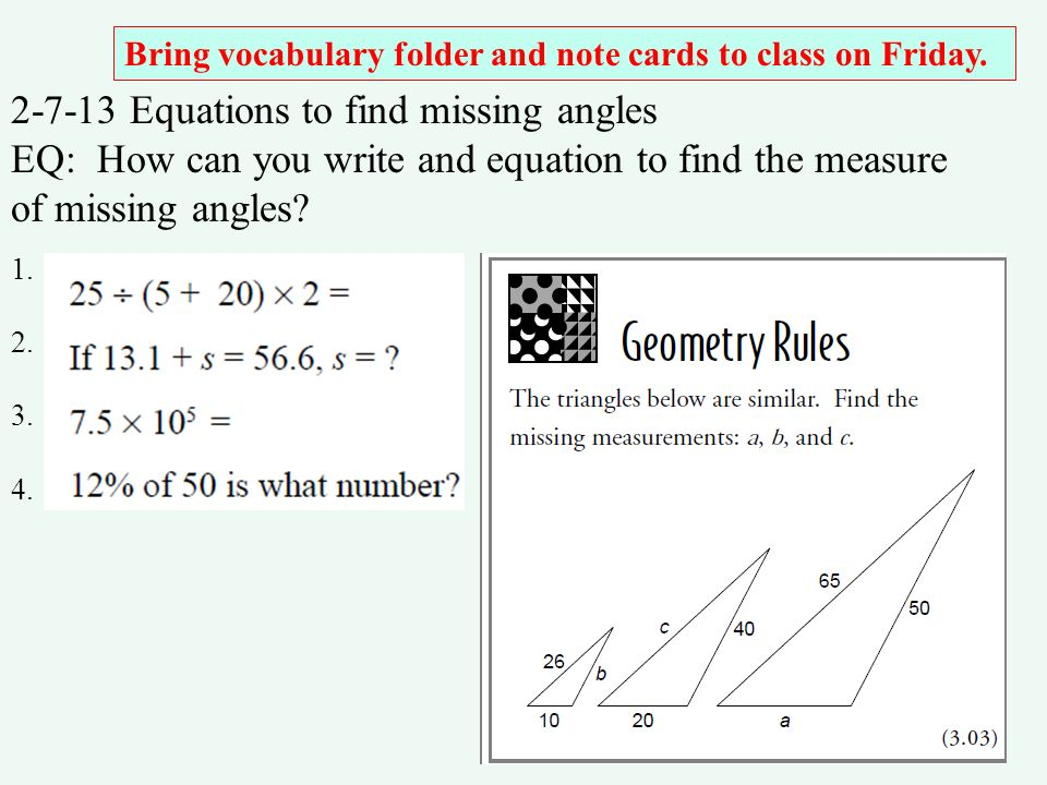 2-7-13 Equations to find missing angles