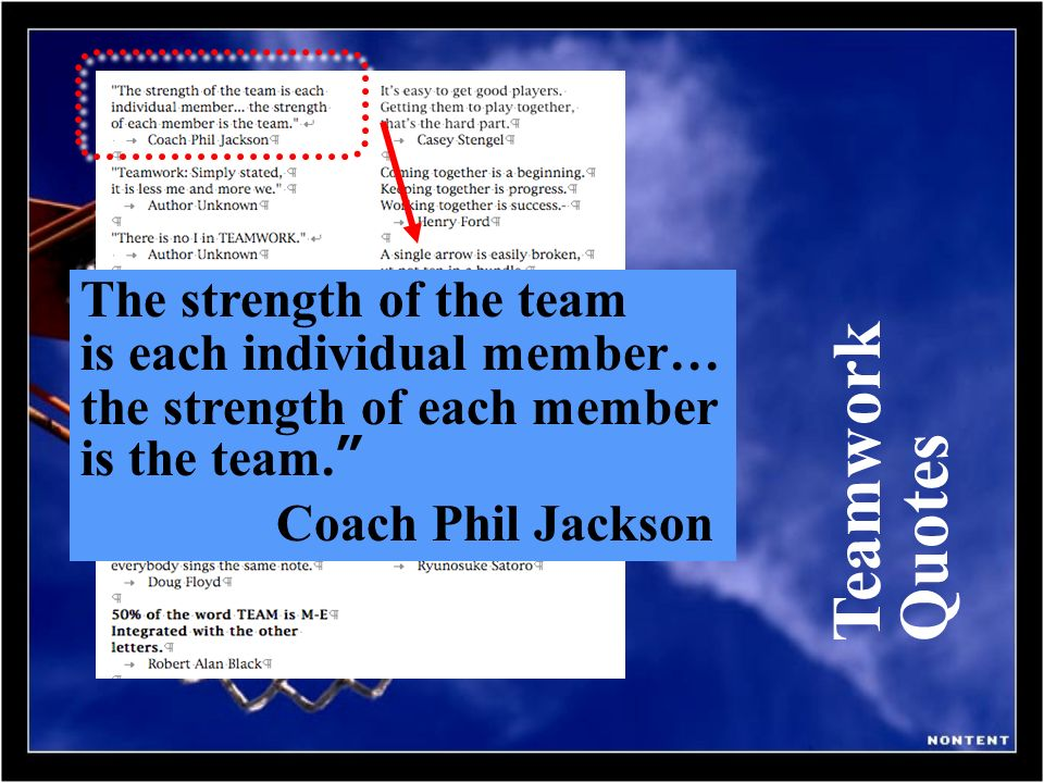 Teamwork Quotes The strength of the team is each individual member…