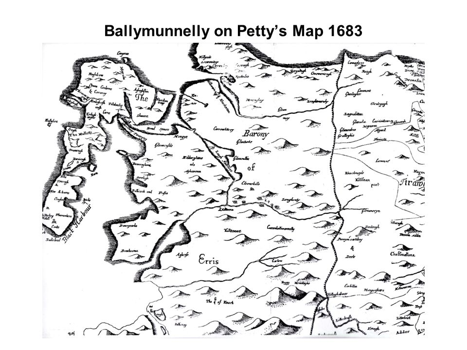Ballymunnelly on Petty's Map 1683