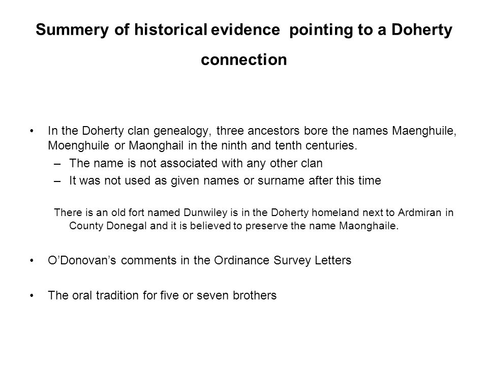 Summery of historical evidence pointing to a Doherty connection
