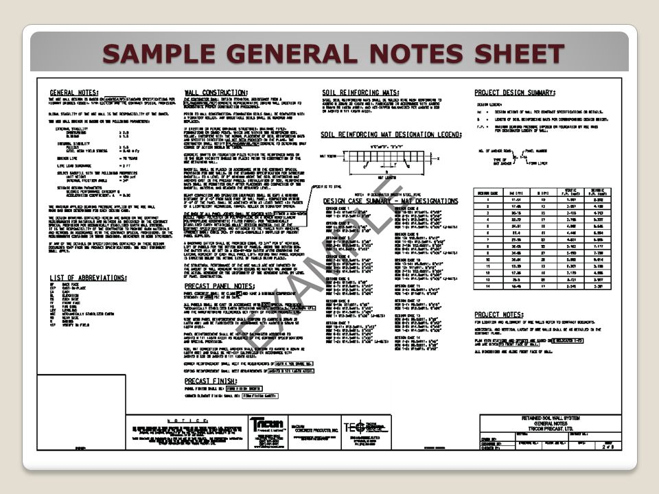SAMPLE GENERAL NOTES SHEET