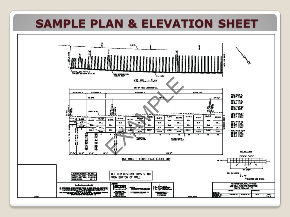 SAMPLE PLAN & ELEVATION SHEET