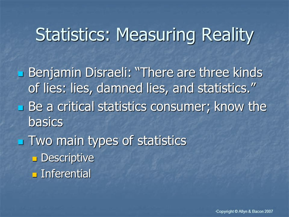 Statistics: Measuring Reality