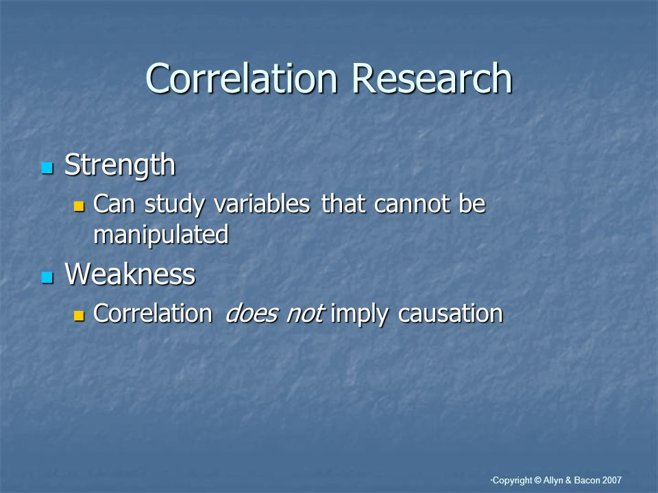 Correlation Research Strength Weakness
